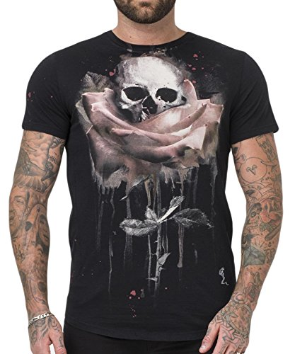 Religion Clothing Herren T-Shirt Shirt Rose Painting Schwarz