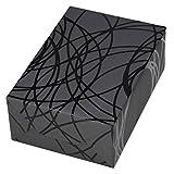 Geschenkpapier Rolle 50 cm x 50 m, Motiv Pablo, Linien in schwarz auf grauem, mattem Fond, Lack. Für Geburtstag, Männer.