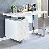 FineBuy Design Schreibtisch Patric 115 x 60 x 76 cm groß weiß Hochglanz Computertisch | Bürotisch 115 cm breit | PC-Tisch mit Metallbeinen | Home Office Konsole modern