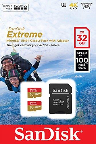 Pack 2 Cartes mémoire microSD SanDisk Extreme 32 Go pour caméras d'action+ Adaptateur SD, jusqu'à 100Mo/s, V30, A1