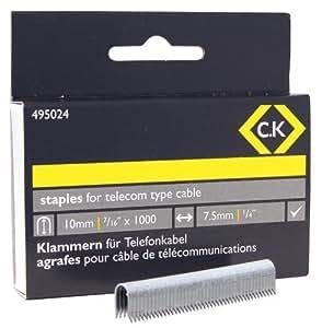 C.K 495024 Agrafes télécom Demi-rondes 4,8 x 10 mm