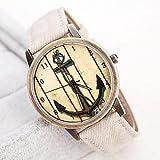 XKC-watches Herrenuhren, Frauen, die alte Weisen Boots-Anker-Vorwahlknopf PU-Band Quarz-Armbanduhr Analog (Verschiedene Farben) (Farbe : Beige)