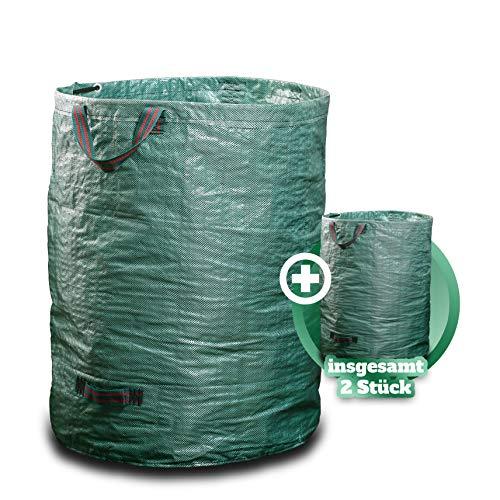 GARSA Gartenabfallsack 2 x 300 Liter - PREMIUM Gartensack mit Verstärkten Griffen, Laubsack für Garten, Sack für Gras, Laub, Rasen und Gartenabfall - Faltbar, Selbststehend und Stabil
