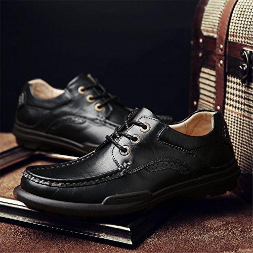 Hommes Chaussures De Mode En Cuir De Mode Chaussures De Mode En Dentelle Rondes Chaussures De Mode Match Tout En Angleterre Noir