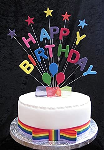 Happy Birthday Multicoloured Cake Topper With Stars And Balloons PLUS 1 x Metre 25mm Rainbow Grosgrain Ribbon With Attached Bow