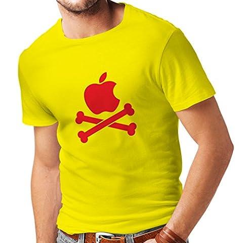 N4269 T-shirt pour hommes Drôle de pomme et Bones (X-Large Jaune Rouge)