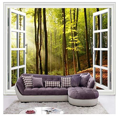 HF-LCZY Ultimative Hd Außerhalb des Fensters Sonne Wald Fototapete 3D Stereo Natur Tapete Wohnzimmer Cafe Hintergrund Wanddekor Klassiker, 200x140cm | 2 Stripes
