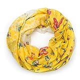 MANUMAR Loop-Schal für Damen | Hals-Tuch in gelb mit Schmetterling Motiv als perfektes Herbst Winter Accessoire | Schlauchschal | Damen-Schal | Rundschal | Geschenkidee für Frauen und Mädchen