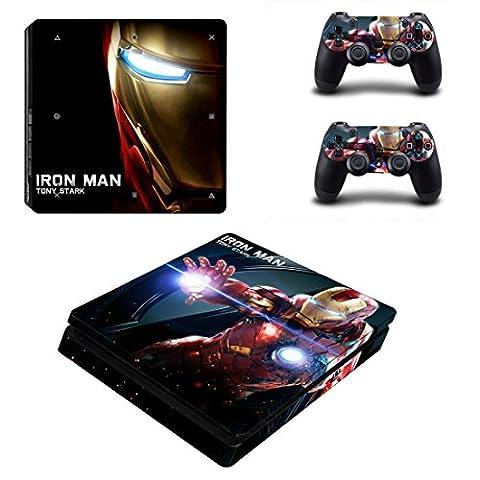 Playstation 4 Slim + 2 Controller Aufkleber Schutzfolien Set - Iron-Man /PS4 S