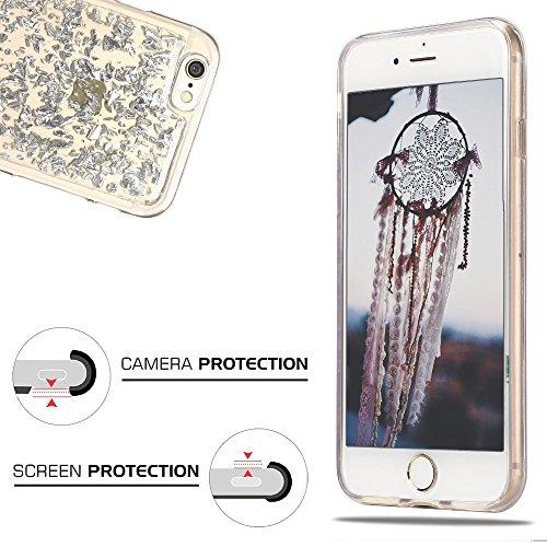 Cover iPhone 6S, Custodia iPhone 6, CaseLover Custodia per iPhone 6S / 6 Morbido TPU Silicone Trasparente Bling Bling Glitter Protettiva Case Ultra Sottile Flessibile Lusso Cristallo Scintilla Scintil Argento