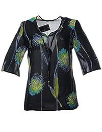 fa44052598e1c7 Sempre piu Damen Tunika Schwarz Transparent Halbarm mit V-Ausschnitt Blumen  Sommer-Mode Große