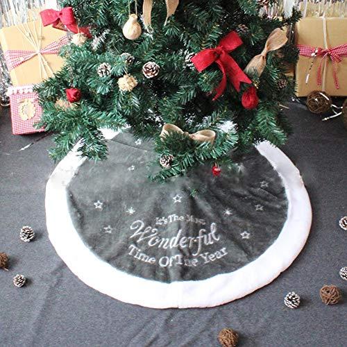 WeeH Weihnachtsbaum-Rock mit Kunstfell, Weihnachtsbaum-Matte, Vintage, Runder Kunstteppich, Heimdekoration 35 inch weiß und grau