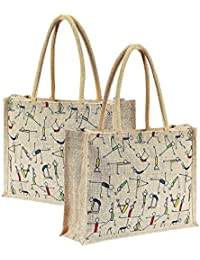 2 Pack Yoga Print Jute Lunch Bag For Everyday Use And Easy To Clean With Top Zipper - (14x5x12 Inch)