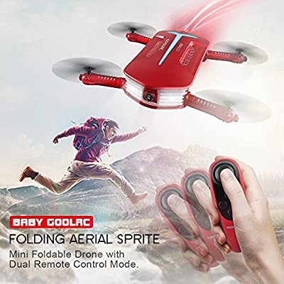 GoolRC T37 Mini Foldable Selfie Drone with Camera FPV Quadcopter 720P HD 2.4G 6-Axis Gyro WIFI THREE Extra Batteries from GoolRC