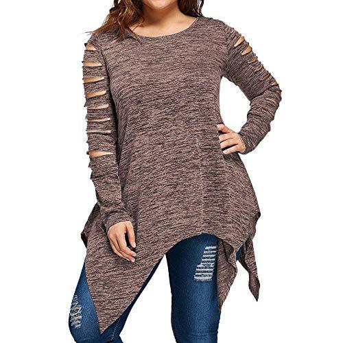 Emmay Damens Plus Size Tops Casual Sleeve Wesentlich Long Solide Mode Pullover Rand T Shirt Bluse Tank Tops Geschreddert Shirt (Color : Braun, Size : 4XL) Rand Pullover