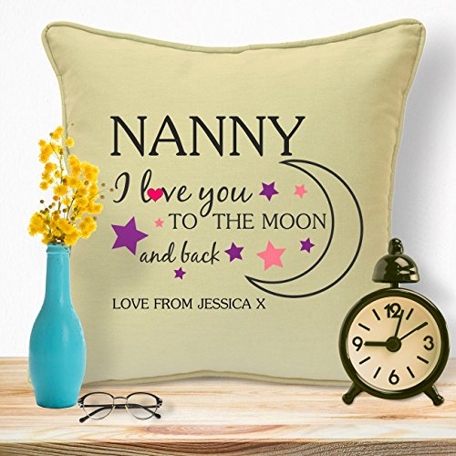 Personalised Gifts For Grandma Nanny Granny Mothers Day Birthday Christmas Xmas From Grandson Granddaughter Grandchildren Grandkids Godchild Long Distance First Time Grandmothers Moon & Back Cushion