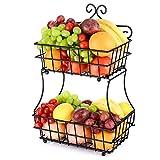 Oakome Portafrutta da Tavolo a 2 Ripiani in Acciaio Cesto di Frutta Fruttiera Moderna Utensili Cucina