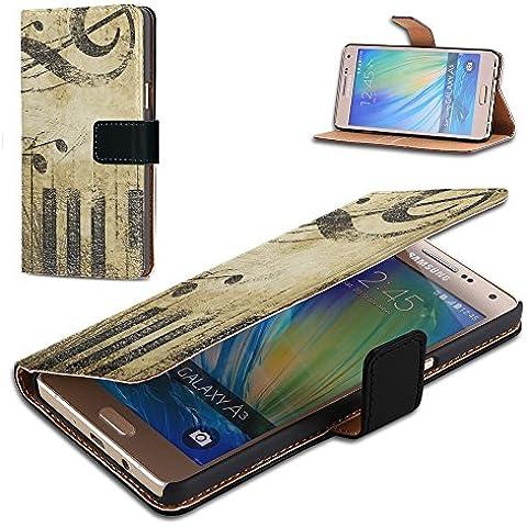 Musica 016, Nota di Musica, Nero Portafoglio Magnetico Custodia in Pelle con Funzione di Appoggio Borsa con Disegno Strutturato per Samsung Galaxy A3 A300