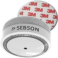 SEBSON Mini Détecteur de Fumée NF, sans vis, photoélectrique, pile intégrée au lithium longue durée (10 années), VdS 3131, Certifié DIN EN 14604, certifié Q, coupure du son (10h/ 10min), Alarme de Fumee GS522, magnetic, adhesif