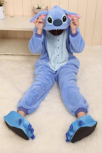 Imagen de disfraz/pijama kigurumi de stitch con capucha, unisex, color azul/rosa, stitch blue, l 170cm 180cm  alternativa