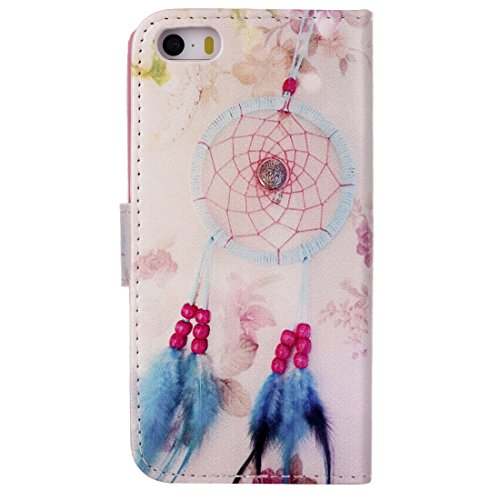 MOONCASE iPhone 5C Coque, [Don't Touch My Phone] Bookstyle Étui à rabat Housse en Cuir Portefeuille de Protection TPU Case avec Béquille pour Apple iPhone 5C Campanula Dreamcatcher