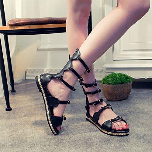 Longra Donne Fascetta sandali tasto del metallo Toe Nero