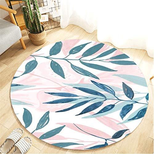 Scrolor Schlafzimmer Teppich Runde Form 64 cm Wohnzimmer Bodenmatte Sofa Stuhl Bereich Dekoration Kissen Decke Floral Tropische Pflanzen Gedruckt -