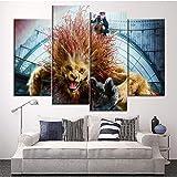 LTTGG Modern Wall Decor Artwork 4 Pezzi Stampa su Tela Film Animali Fantastici Animali artistici Art Print Decorative Painting