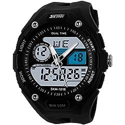 UNIQUEBELLA Climbing Dive 50m Waterproof Quartz Sport Alarm Wrist Watch, Date and Day Japan Quartz Led Light Men Wrist Analog-Digital Bracelet Watch