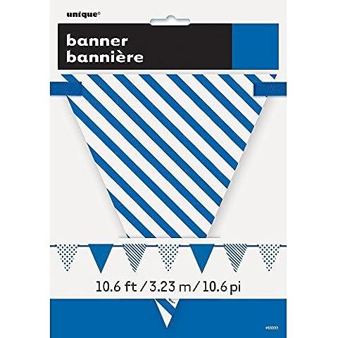 Unique Party - Festone decorativo da 366 cm con bandierine di carta con strisce e pois, colore: blu reale
