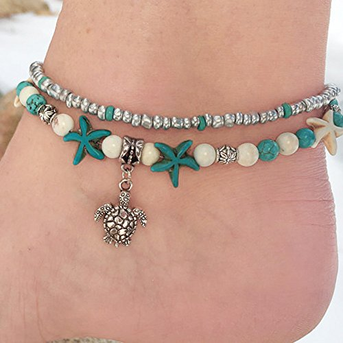 TAOtTAO Mode Doppel Schildkröte Sea Snail Sea Star Yoga Strand Fuß Kette Armband