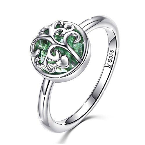 Damen Ringe 925 Sterling Silber Baum Des Lebens Trauringe Band Mit Grünes Glas Silberschmuck Geschenke
