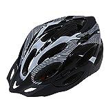 SODIAL(R) Casco Bici MTB Ciclismo Adulto Regolabile Nero Bianco con Visiera Regolatore