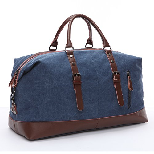 Limirror vintage Canvas Reisetasche Sporttasche weekender Tasche für Damen und Herren mit der Großen Kapazität (Grau) Blau