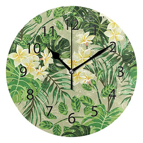 Xukmefat Wall Clock,Round 10 Inch Diameter Silent Tropical Coconut Leaf Decorative for Home Office Kitchen Bedroom -