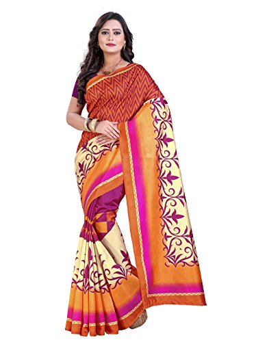 Sarees e-VASTRAM Womens Sarees Art Mysore Printed Silk Saree(NS20RUST_Rust)