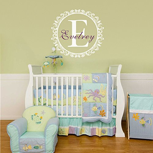Baby Boy Girl/nome Qutoe da parete per cameretta dei bambini, motivo: iniziale del nome Adesivo decalcomania da parete, motivo