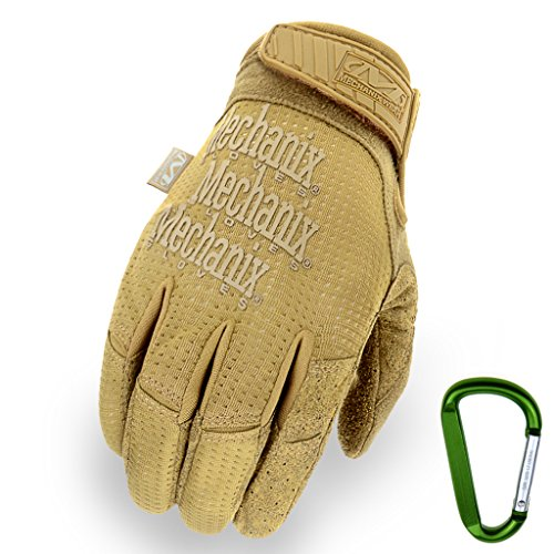 MECHANIX WEAR Tactical Vent 2017 Einsatz-Handschuh, extrem atmungsaktiv, touchscreenfähig & abriebfest + Gear-Karabiner, in Schwarz & Coyote/Größe S, M, L, XL (M, Coyote)