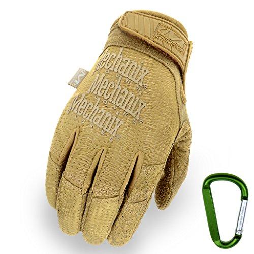MECHANIX WEAR Tactical Vent 2017 Einsatz-Handschuh, extrem atmungsaktiv, touchscreenfähig & abriebfest + Gear-Karabiner, in Schwarz & Coyote / Größe S, M, L, XL (XL, Coyote) (Mesh-jagd Handschuhe)