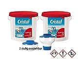 Cristal Set 2x MultiTabs 20g - 5 kg + 1 Dosierschwimmer (2 Stufen ausziehbar), Poolpflege, Bayrol