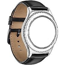 Samsung Gear S2 Classic SM-R732 & SM-R735 Correa, HUAWEI Watch 2 Sport Version Correa Omter Ralmente Cuero Reemplazo Banda Pulseras de Repuesto Correa de Reloj Inteligente Smartwatch cuero negro
