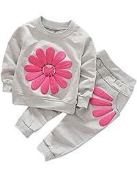 CHIC-CHIC Ensemble Sport Pyjama Bébé Filles Garçons Enfants Top Manches Longues + Pantalon Ensemble Costume Vêtement de Nuit