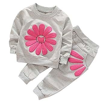 CHIC-CHIC Ensemble Sport Pyjama Bébé Filles Garçons Enfants Top Manches Longues + Pantalon Ensemble Costume Vêtement de Nuit 12-24mois Gris