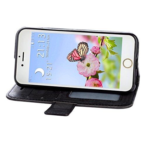 iPhone 6s iPhone 6 Cover Case HuaForCity® Portafogli Custodia in Pelle PU Copertina con Slot per schede Magnetica Flip Chiusura Stile del Libro Supporto Funzione Bumper Caso for iphone 6 Black