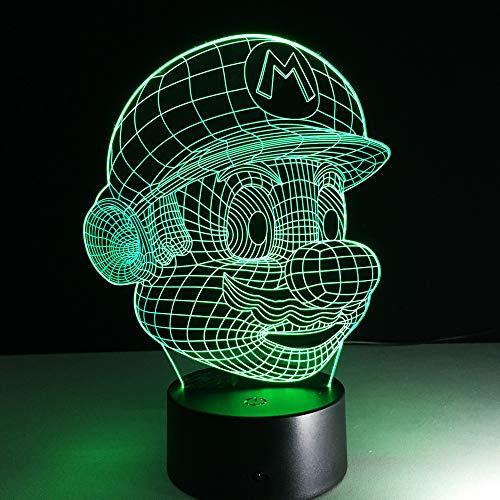 Gabbana Tier (WangZJ 3d Illusion Lampe / 3d Nachtlicht/Dekor Lampe/Kinderzimmer Home Décor / 7 Farben/Kinder Geschenk/Led Lampe/Super Mario Bro)