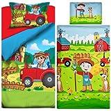 Aminata Kids Kinder-Bettwäsche Bauernhof Traktor 100x135 cm Jungs hell-blau rot-er Baumwolle Reissverschluss süss bunt-e Hund-e Bauer-n Tiere Trecker
