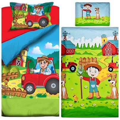 Aminata Kids - süße Kinder-Bettwäsche 100x135 40x60 cm Roter Traktor bunt Bauernhof mit Bauer Jungen und Mädchen