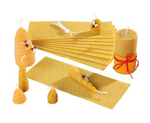 Unbekannt Bienenwachs-Kerzen Bastelset - 15 x 100{b99b02517bcee9ea5c20eb7317e25a2b69acb940eee3f16fc67e52b21ba92761} Reine Bienenwachs-Platten 10 x 25 cm - selber Machen basteln Set Kinder