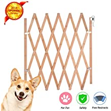 Urijk Expandable Accordian Dog Gate, Wooden Accordion Expansion Gate for Doorway Stairs, Folding Safety Protection Small Medium Pet Dog, 10 to 41 W, 16 H & 8 43 27