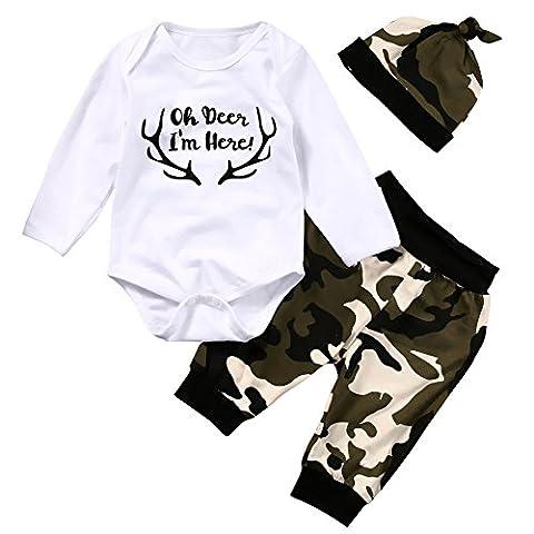 SCFEL Neugeborenes Baby Jungen Mädchen Unisex Langes Hülsen Bodysuit + Camouflage Hose + Hut 3pcs Herbst Outfits (12-18 Monate)